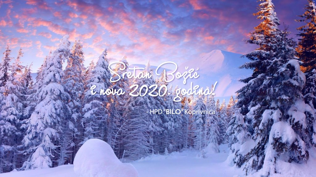 božićna čestitka HPD BILO, zimski pejzaž sa snijegom pokrivenim borovima i planinom u pozadini